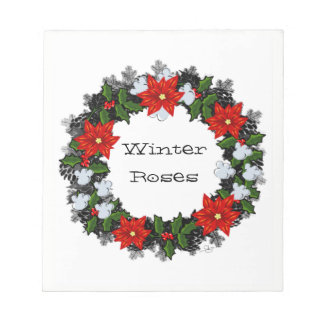 "Wreath ""Winter Roses"" Flowers Floral Notepad"