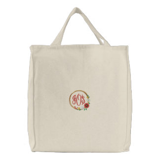 Wreath with Flowers, Bird and Monogram Embroidered Bag