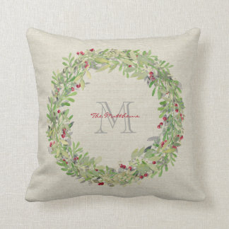 Wreath with monogrammed name & initial cushion