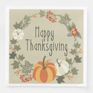 Wreath With Pumpkin, Thanksgiving Napkins Paper Serviettes