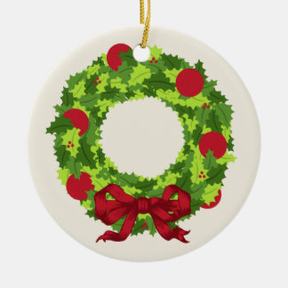 Wreath With Red Bow Christmas Ornament