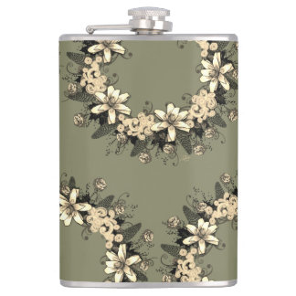"""Wreath """"Yellow Yellow"""" Flowers Floral Flask"""