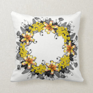 """Wreath """"Yellow Yellow"""" Flowers Floral Pillow"""