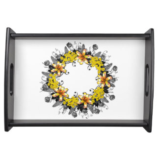 """Wreath """"Yellow Yellow"""" Flowers Floral Serving Tray"""