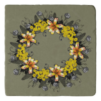 "Wreath ""Yellow Yellow"" Flowers Floral Trivet"