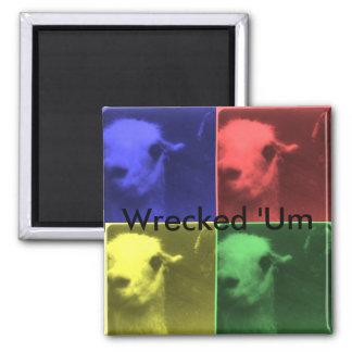 Wrecked 'Um 4 Color Llama Square Magnet