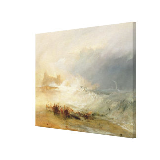 Wreckers - Coast of Northumberland, With a Steam B Canvas Print