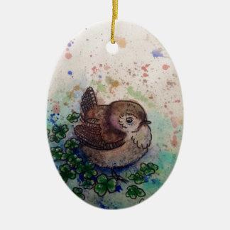 Wren amongst the clover christmas ornament