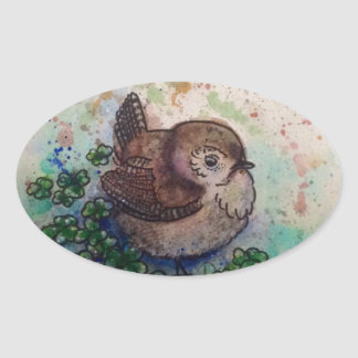 Wren amongst the clover oval sticker