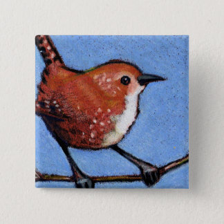 WREN, BIRD, COLOR PENCIL 15 CM SQUARE BADGE