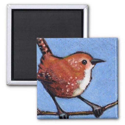 WREN, BIRD, COLOR PENCIL FRIDGE MAGNET