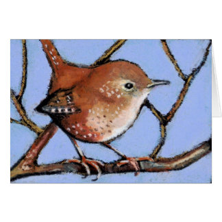 WREN, BIRD, in Oil Pastel Greeting Card