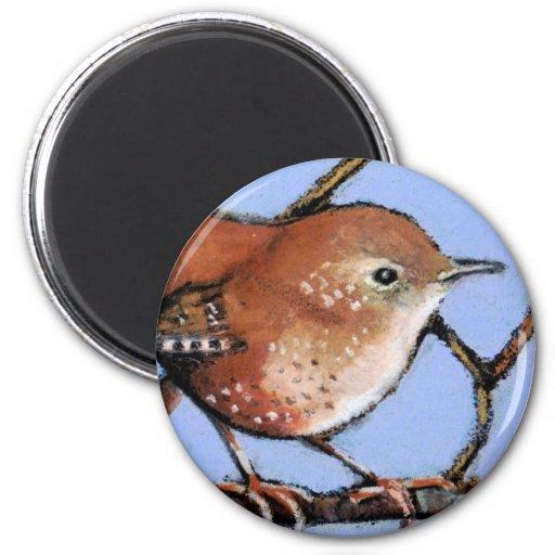 WREN, BIRD, in Oil Pastel Magnet