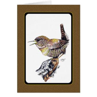 Wren Card in ink