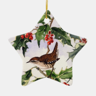 Wren in a Holly Bush Ceramic Star Decoration