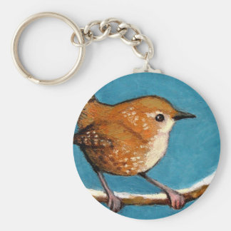 WREN IN OIL PASTEL BASIC ROUND BUTTON KEY RING
