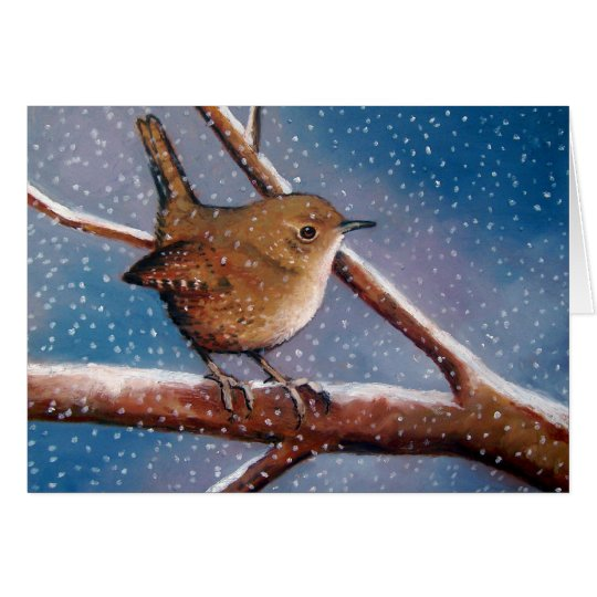 Wren In Winter: Artwork: Note Card