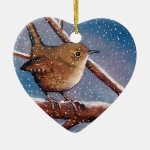 WREN IN WINTER: OIL PASTEL: BIRD ORNAMENT