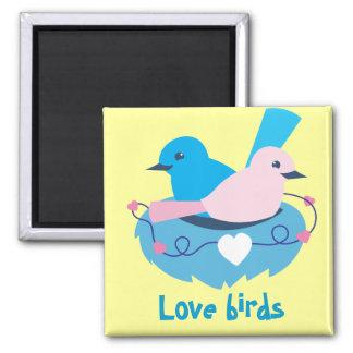 wren love birds nesting square magnet