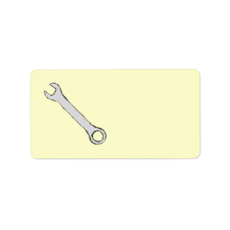Wrench. Gray and Black. Spanner. Address Label
