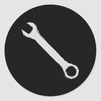 Wrench. Gray and Black. Spanner. Classic Round Sticker