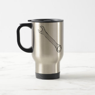 Wrench. Grey and Black. Spanner. Stainless Steel Travel Mug