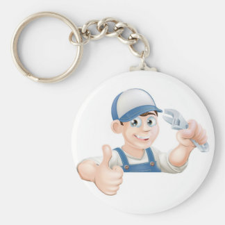 Wrench man over banner thumbs up key chains