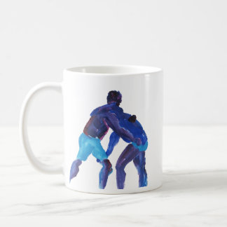 Wrestlers Blue Basic White Mug