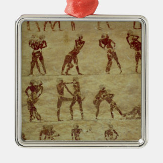 Wrestlers, detail from a tomb wall painting christmas ornament