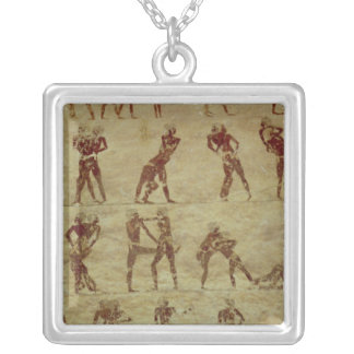 Wrestlers, detail from a tomb wall painting silver plated necklace