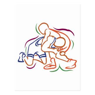 Wrestlers Outline Postcard