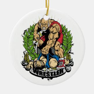 Wrestling Champ Round Ceramic Decoration