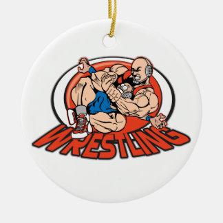 Wrestling Choke Hold Round Ceramic Decoration