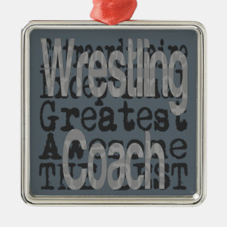 Wrestling Coach Extraordinaire Silver-Colored Square Decoration