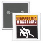 wrestling design 15 cm square badge