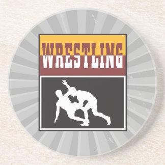 wrestling design sandstone coaster
