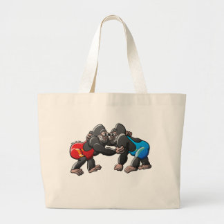 Wrestling Gorillas Large Tote Bag