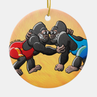 Wrestling Gorillas Round Ceramic Decoration