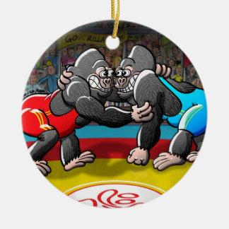 Wrestling Gorillas Round Ceramic Decoration