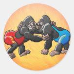 Wrestling Gorillas Round Stickers