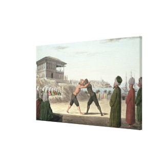 Wrestling Match, Constantinople (w/c on paper) Stretched Canvas Print