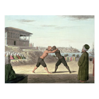 Wrestling Match, Constantinople (w/c on paper) Postcard