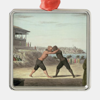 Wrestling Match, Constantinople (w/c on paper) Silver-Colored Square Decoration