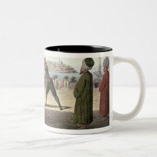 Wrestling Match, Constantinople (w/c on paper) Two-Tone Coffee Mug