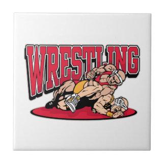 Wrestling Takedown Small Square Tile