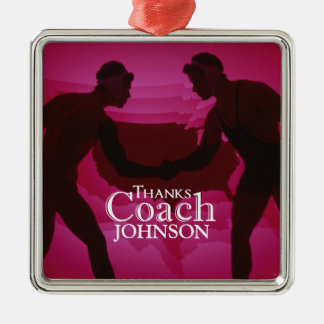 Wrestling Thanks Coach Silhouette Red Christmas Ornament