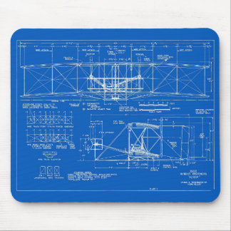"Wright Bros. ""Flyer"" Blueprint 1903 Mouse Mat"