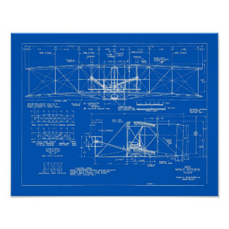 "Wright Bros. ""Flyer"" Blueprint 1903 Poster"