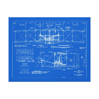 "Wright Bros. ""Flyer"" Blueprint 1903 Stretched Canvas Print"