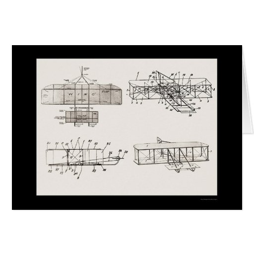 Wright Brothers Aeroplane Patent Plans 1908 Greeting Card